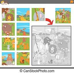 puzzle, puzzle, animaux, jeu, dessin animé
