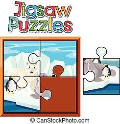 puzzle, puzzle, animaux, jeu, northpole