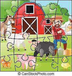 puzzle, puzzle, animaux, jeu, paysan