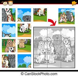 puzzle, puzzle, chiens, jeu, dessin animé