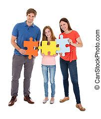 puzzle, puzzle, famille, tenue, morceaux