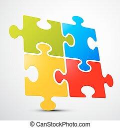 puzzle, puzzle, -, illustration, vecteur, perspective