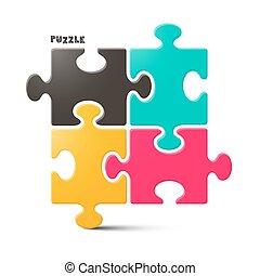 puzzle, puzzle, -, isolé, illustration, vecteur, fond, blanc