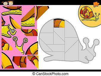 puzzle, puzzle, jeu, escargot, dessin animé