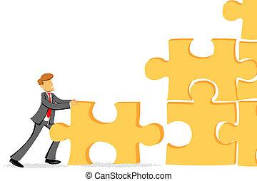 puzzle, puzzle, moule, joindre