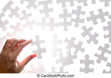 puzzle, puzzle, possession main, morceau, homme