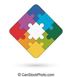 puzzle, quadrato, centro