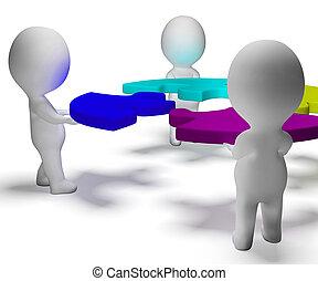 puzzle, résolu, collaboration, caractères, équipe, afficher,...