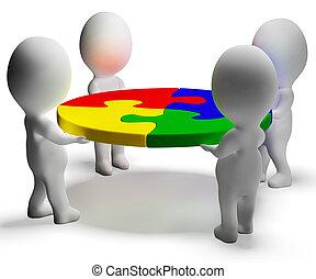 puzzle, résolu, collaboration, caractères, équipe, spectacles, 3d