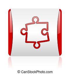 puzzle red and white square web glossy icon