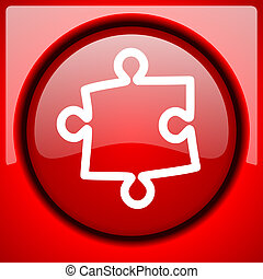 puzzle red icon plastic glossy button