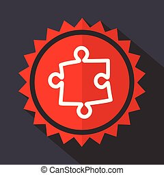 Puzzle red sticker flat design vector icon