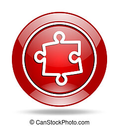 puzzle red web glossy round icon