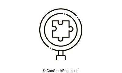 Puzzle Research Icon Animation. black Puzzle Research animated icon on white background