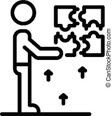 Puzzle resolve skill icon, outline style - Puzzle resolve ...