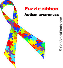 Puzzle ribbon. Autism awareness symbol. Vector illustration.