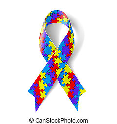 Puzzle ribbon - Colorful puzzle ribbon as symbol autism...