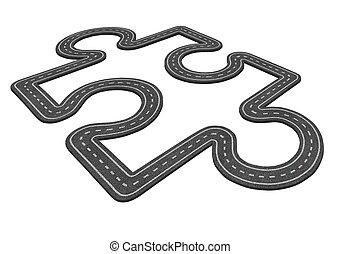 Puzzle Road Concept - Puzzle road concept as a...