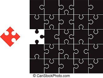 puzzle, rouge noir