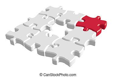 puzzle, rouges, 3d