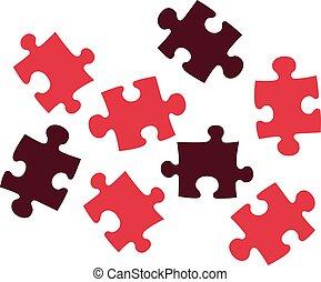 puzzle, rouges, morceaux