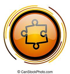 puzzle round design orange glossy web icon