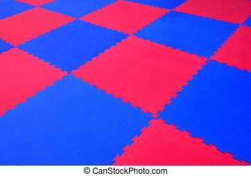 Puzzle rubber gym floor mat - Two colours ,blue and red,...