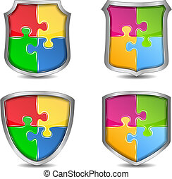 puzzle, schermi, pezzi