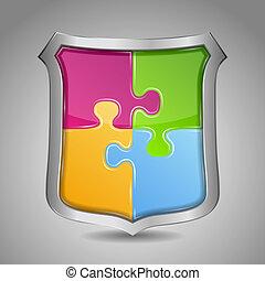 puzzle, scudo, pezzi