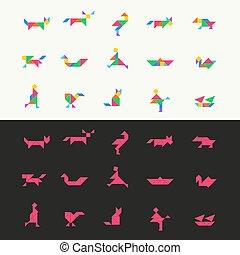 puzzle, set., carrée, tangram, vecteur, illustration, géométrique, gabarit, chinois, triangle, traditionnel