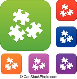 Puzzle set color collection - Puzzle set icon color in flat...