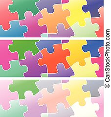 puzzle set color - illustration set of pieces of colorful...