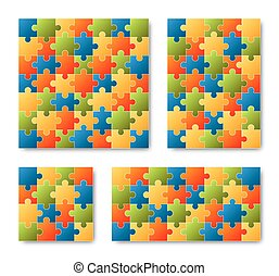 Puzzle Set - colored - 4 puzzles - set of four different...