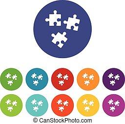 puzzle, set, icone