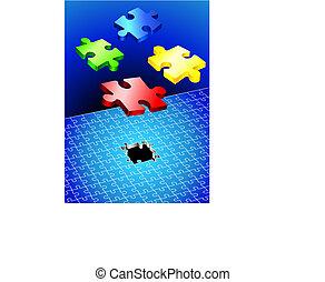 puzzle, set, incompleto
