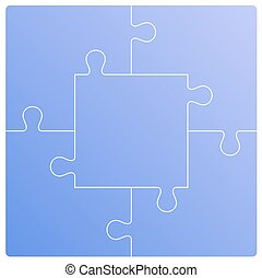 Puzzle set. Vector illustration - Color Puzzle set of five...