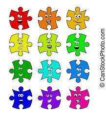 puzzle set with smile face vector symbol icon design.