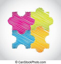 puzzle set with special sketch design