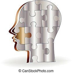 Puzzle silver brain logo