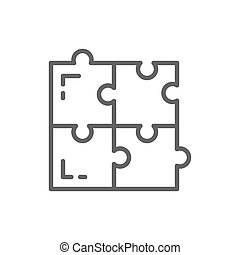 Puzzle, simple solutions, compatibility, solving problem line icon.
