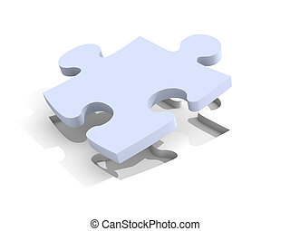 Puzzle Solution - 3D Illustration. Isolated on white.