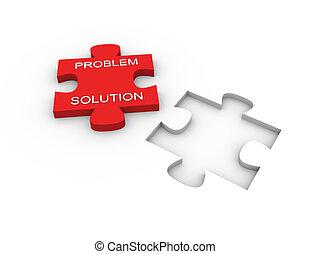 Puzzle solution - 3d render of problem solving concept