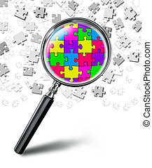 puzzle solution concept with magnifying glass on white background