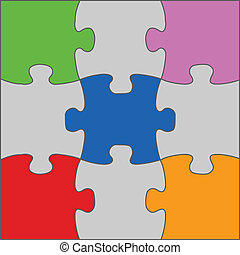 Puzzle solution - illustration of jigsaw puzzle solution in...