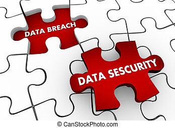 puzzle, solution, illustration, résoudre, infraction, sécurité, données, problème, 3d