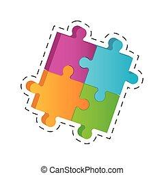puzzle solution image cut line vector illustration eps 10