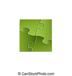 puzzle, solution, /, vecteur, arrière-plan vert