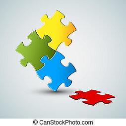puzzle, soluzione, /, vettore, fondo, astratto