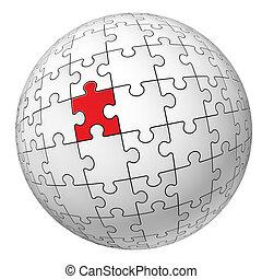 Puzzle sphere. Illustration for design on white background