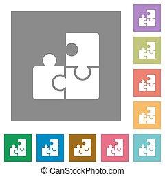 Puzzle square flat icons